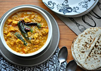 Paneer & Mirchi ka Salan ( Cottage Cheese Cubes & Green Peppers in a Spicy Peanut Sauce)