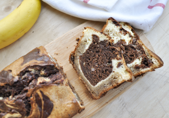Banana, Chocolate and Cream Cheese Marble Loaf