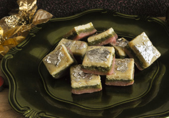 Almond, Pistachio & Strawberry Layered Barfi