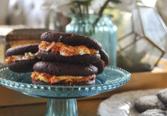 Dark Chocolate Cream Cheese Sandwich Cookies